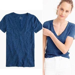 J.CREW Vintage Cotton Slub V-Neck Tee Shirt